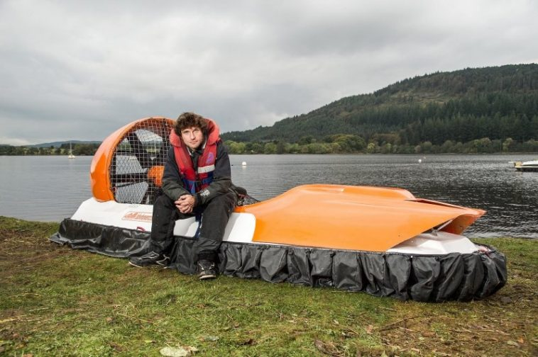 Guy Martin with his hovercraft at Loch Ken, Scotland.