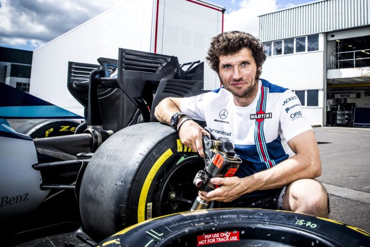 Guy Martin training with the Williams Martini Racing Formula One pit crew at their headquarters